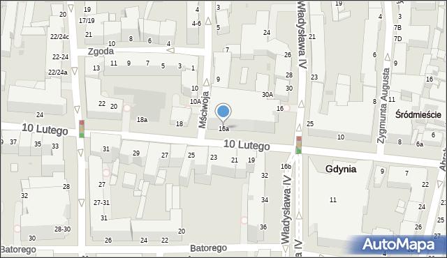 Gdynia, 10 Lutego, 16a, mapa Gdyni