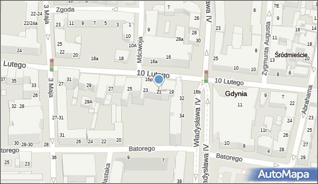 Gdynia, 10 Lutego, 21, mapa Gdyni