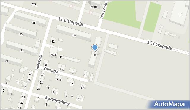 Radom, 11 Listopada, 58, mapa Radomia