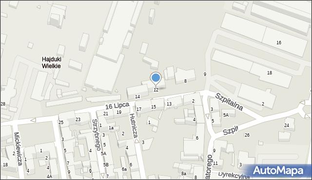 Chorzów, 16 Lipca, 12, mapa Chorzów