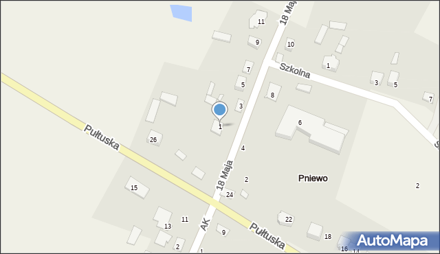 Pniewo, 18 Maja, 1, mapa Pniewo