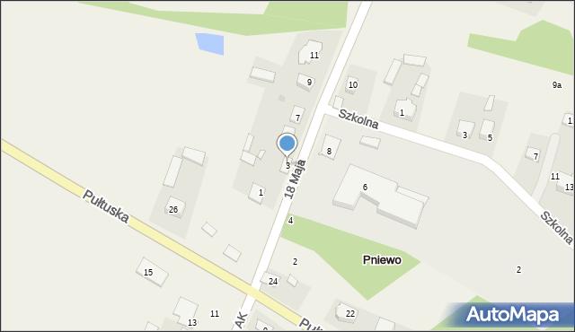 Pniewo, 18 Maja, 3, mapa Pniewo