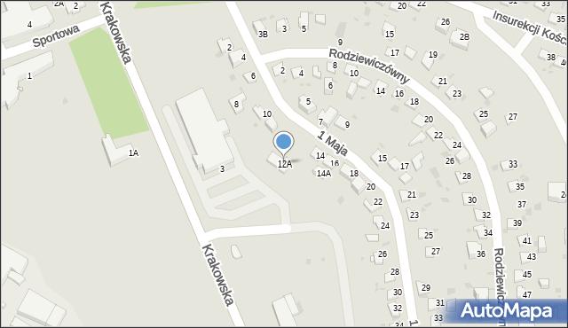 Jaworzno, 1 Maja, 12A, mapa Jaworzno