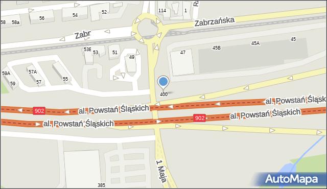 Ruda Śląska, 1 Maja, 400, mapa Rudy Śląskiej