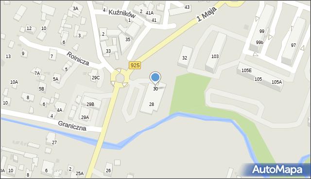 Ruda Śląska, 1 Maja, 30, mapa Rudy Śląskiej