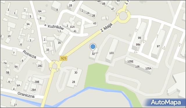 Ruda Śląska, 1 Maja, 32, mapa Rudy Śląskiej