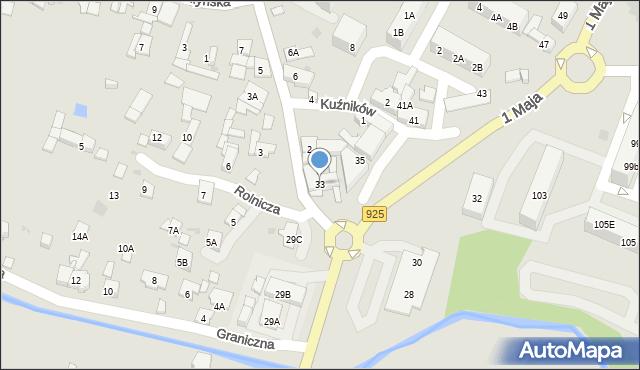Ruda Śląska, 1 Maja, 33, mapa Rudy Śląskiej
