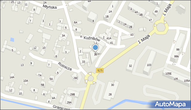 Ruda Śląska, 1 Maja, 35, mapa Rudy Śląskiej