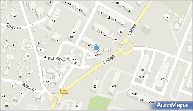 Ruda Śląska, 1 Maja, 43, mapa Rudy Śląskiej