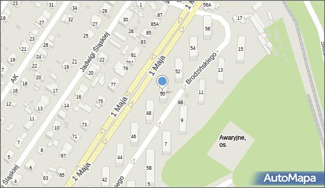 Ruda Śląska, 1 Maja, 50, mapa Rudy Śląskiej