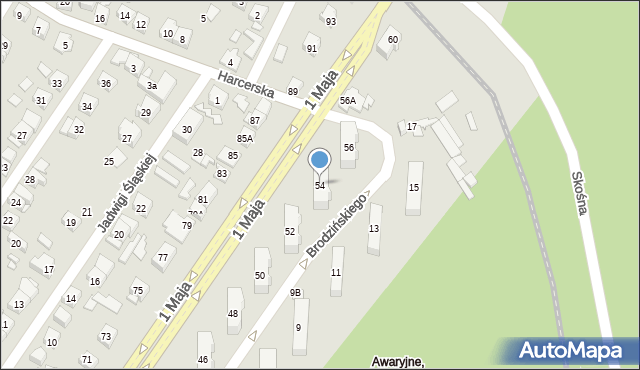Ruda Śląska, 1 Maja, 54, mapa Rudy Śląskiej