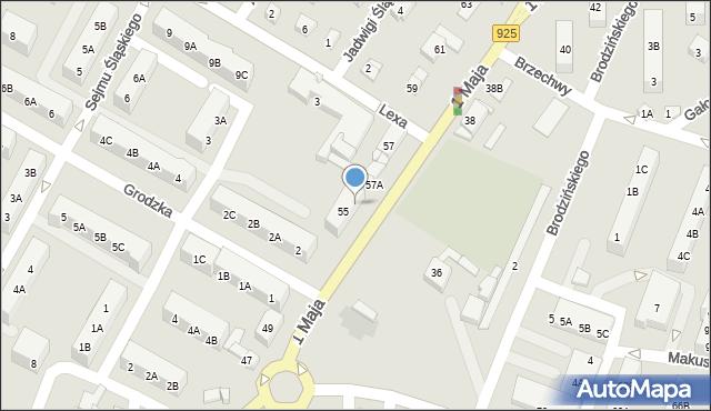 Ruda Śląska, 1 Maja, 55A, mapa Rudy Śląskiej