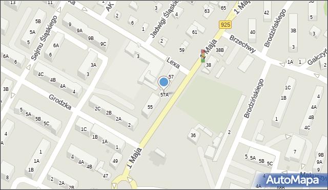 Ruda Śląska, 1 Maja, 57A, mapa Rudy Śląskiej