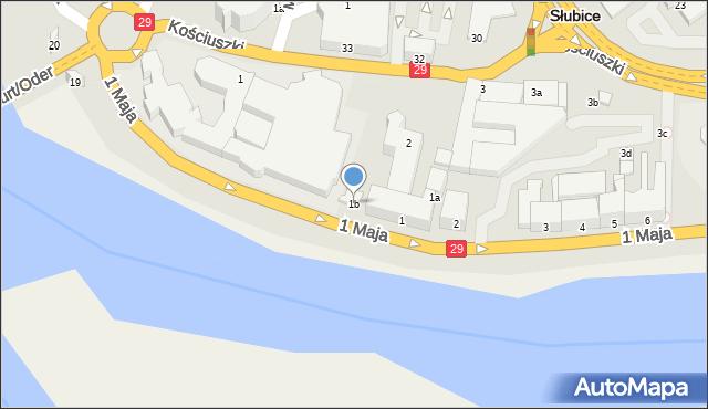 Słubice, 1 Maja, 1b, mapa Słubice