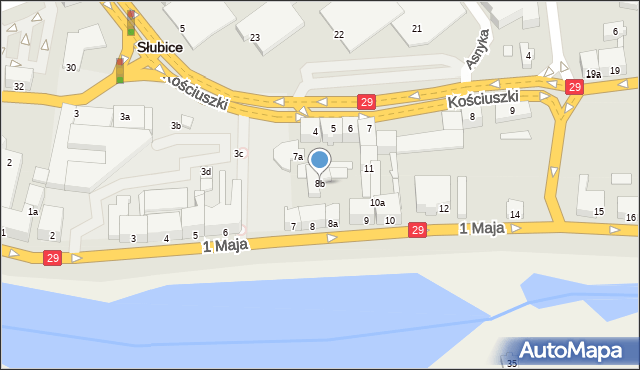 Słubice, 1 Maja, 8b, mapa Słubice