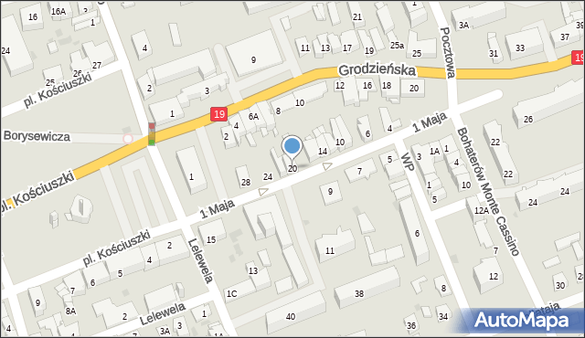 Sokółka, 1 Maja, 20, mapa Sokółka
