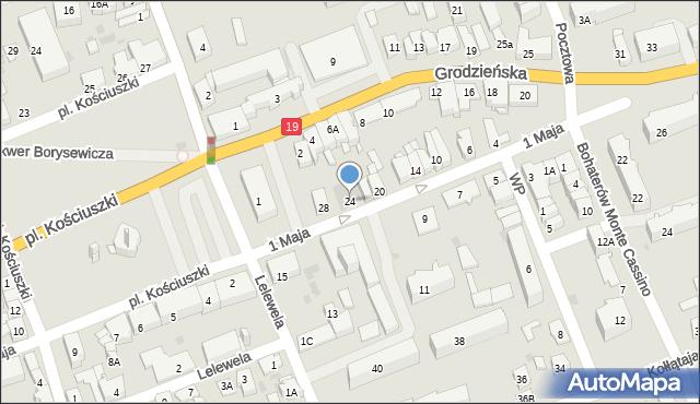 Sokółka, 1 Maja, 24, mapa Sokółka
