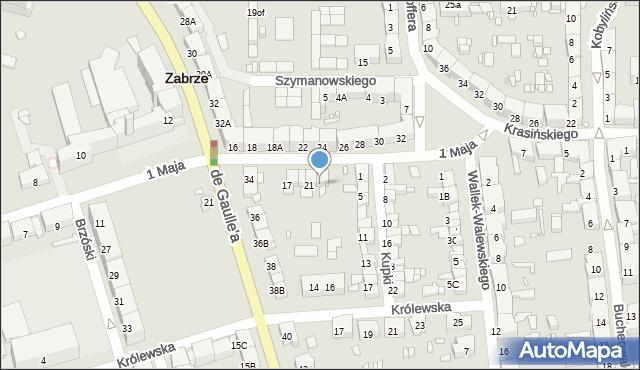 Zabrze, 1 Maja, 23, mapa Zabrza