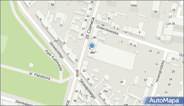 Radom, 25 Czerwca, 46A, mapa Radomia