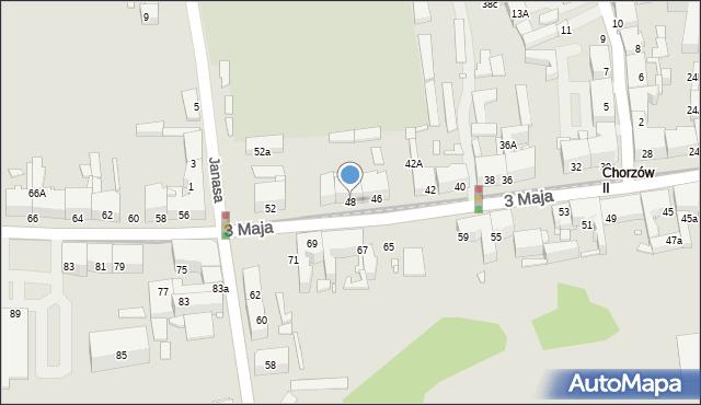 Chorzów, 3 Maja, 48, mapa Chorzów