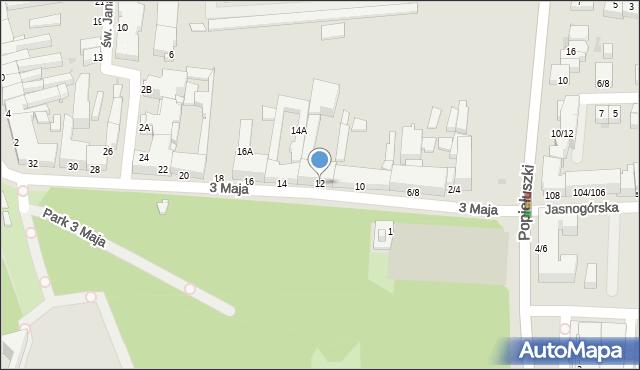 Częstochowa, 3 Maja, 12, mapa Częstochowy