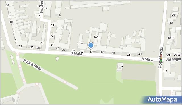 Częstochowa, 3 Maja, 14, mapa Częstochowy