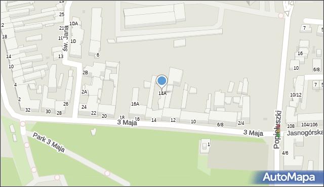 Częstochowa, 3 Maja, 14A, mapa Częstochowy