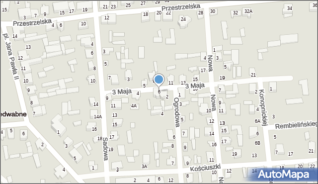 Jedwabne, 3 Maja, 6, mapa Jedwabne