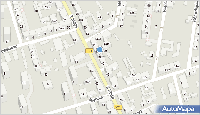 Zabrze, 3 Maja, 58, mapa Zabrza