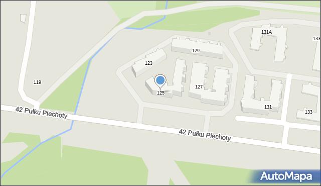 Białystok, 42 Pułku Piechoty, 125, mapa Białegostoku