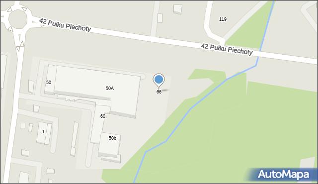 Białystok, 42 Pułku Piechoty, 66, mapa Białegostoku