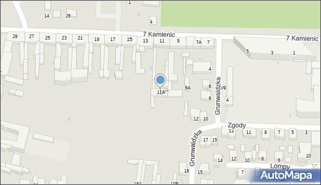 Częstochowa, 7 Kamienic, 11A, mapa Częstochowy