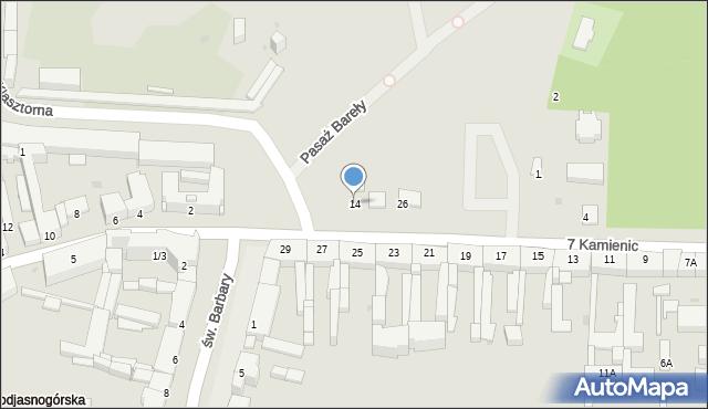 Częstochowa, 7 Kamienic, 14, mapa Częstochowy