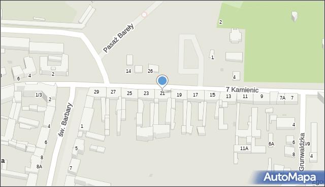 Częstochowa, 7 Kamienic, 21, mapa Częstochowy