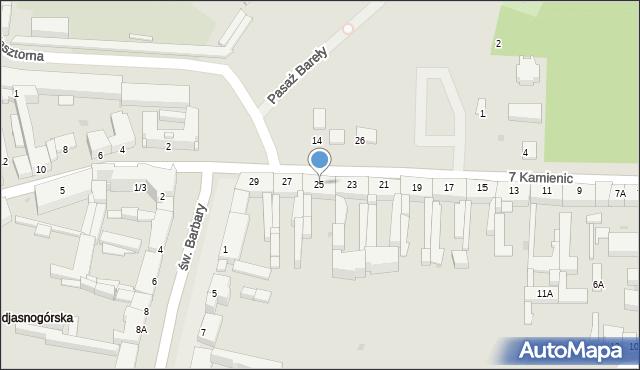 Częstochowa, 7 Kamienic, 25, mapa Częstochowy