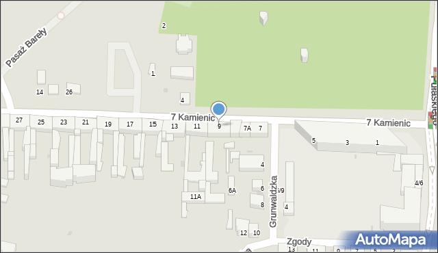 Częstochowa, 7 Kamienic, 9, mapa Częstochowy