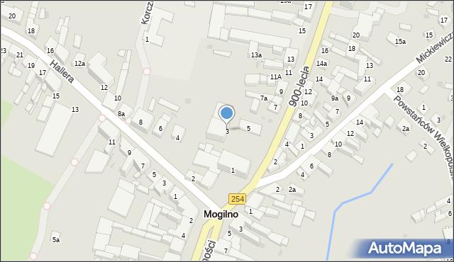 Mogilno, 900-lecia, 3, mapa Mogilno