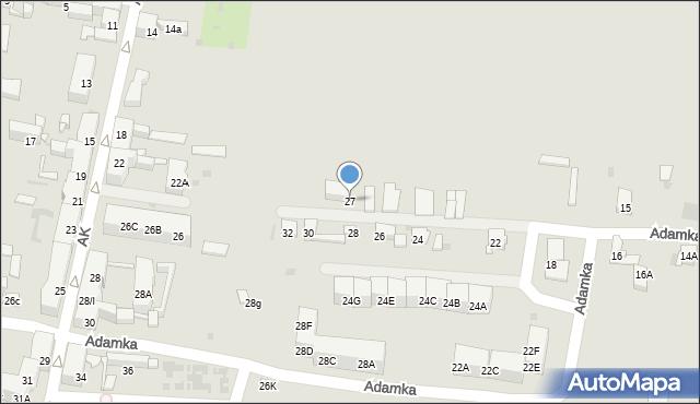 Bytom, Adamka Mikołaja, 27, mapa Bytomia