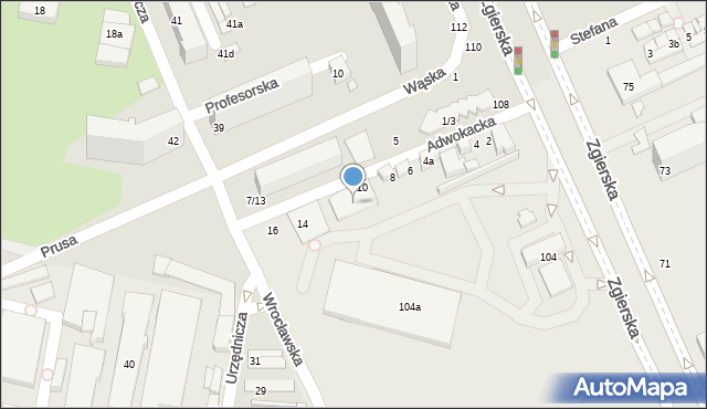 Łódź, Adwokacka, 10/12, mapa Łodzi