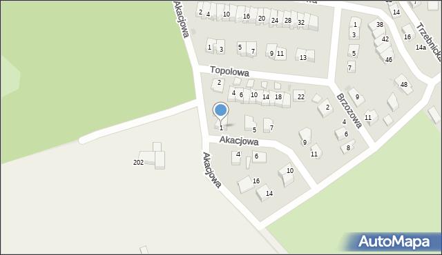 Chocianów, Akacjowa, 1, mapa Chocianów