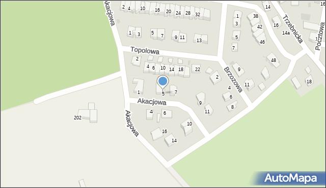 Chocianów, Akacjowa, 5, mapa Chocianów