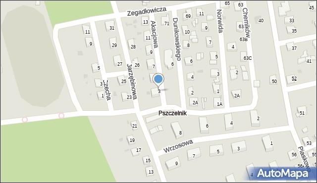 Jaworzno, Akacjowa, 3, mapa Jaworzno