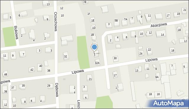 Luzino, Akacjowa, 1, mapa Luzino