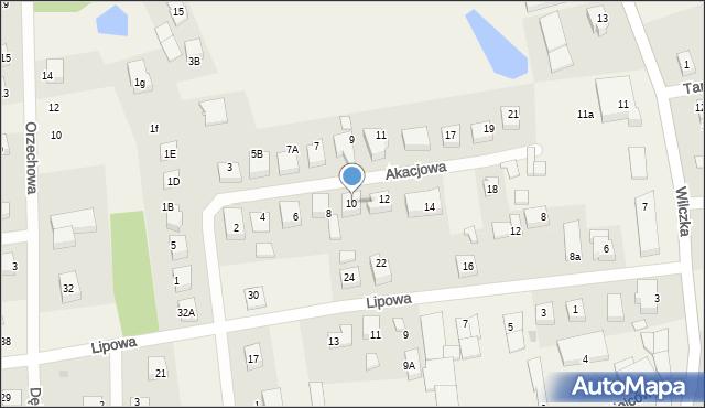 Luzino, Akacjowa, 10, mapa Luzino