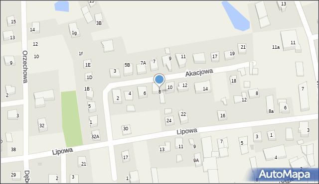 Luzino, Akacjowa, 8, mapa Luzino