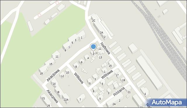 Sosnowiec, Akacjowa, 2, mapa Sosnowca