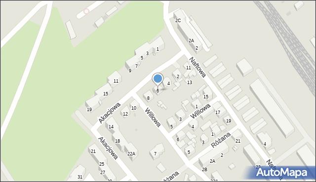 Sosnowiec, Akacjowa, 6, mapa Sosnowca