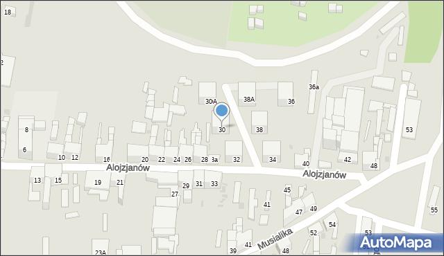 Bytom, Alojzjanów, 30, mapa Bytomia