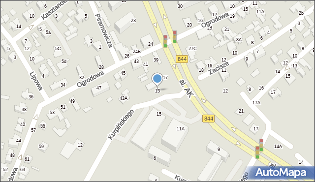 Chełm, Aleja Armii Krajowej, 13, mapa Chełma