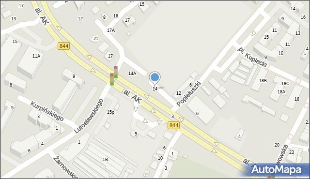 Chełm, Aleja Armii Krajowej, 14, mapa Chełma